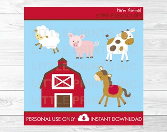 Cute Farm Animal Clipart / Barn Animals Clip Art / Farm Animal Baby Shower / Farm Animal Birthday / PERSONAL USE Instant Download A239
