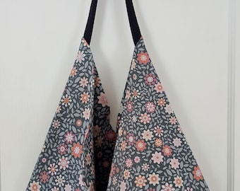 Boho, hobo bag and wristlet in pretty grey and pink cotton print