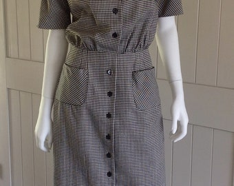 Vintage 1950/ 60's Black and White Checkered  Day Dress