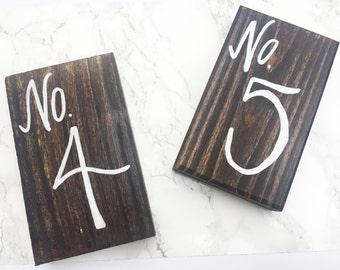 Wood Block Table Numbers- Handmade