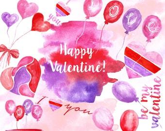 Valentine clipart. Love clipart. Red, Pink, Purple clipart, Romantic clipart.