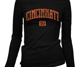 Women's Cincinnati 513 Long Sleeve Tee - S M L XL 2x - Ladies' Cincinnati T-shirt, Cincy, Ohio - 4 Colors