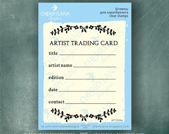 ATC ACEO stamp Artist Trading Card Back Wreath rubber clear photopolymer