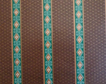 Vintage 1970s Gift Wrap Paper Brown & Green Wallpaper Stripe Print Wrapping Paper--2 Sheets