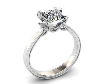 Forever One Moissanite Ring 1.00 Carat Princess Cut Moissanite Engagement Ring 14k or 18k White Gold. Matching Wedding Band Available W27MOI