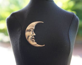 French Brass Stamping Man in the Moon Brooch