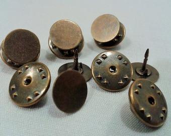 100 Pcs 10 mm Antique Bronze Tie Tacks  Blanks Pin Findings
