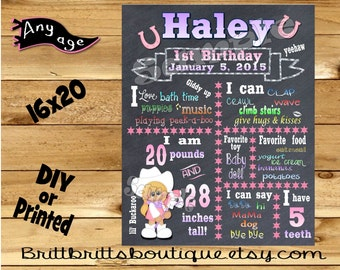 First Birthday Chalkboard sign girl 1st birthday cowgirl chalk board photo prop customized first birthday poster digital file or printed