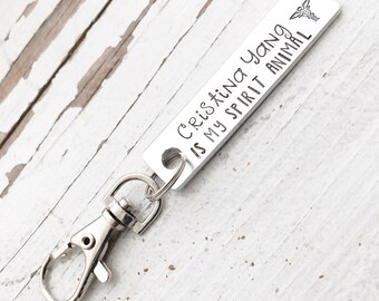 Hand stamped HANDSTAMPED youre my person keychain lobster swivel clasp Christina cristina yang is my spirit animal your you're bff bestie