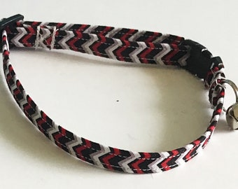 Red and Black Chevron Cat Collar with Breakaway Buckle and Bell