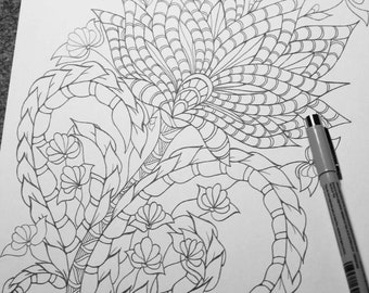 Coloring page from an Original drawing, Floral