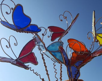 Stained glass 3D butterfly garden plant stake Made To Order handmade summer garden art  copper or silver color metal
