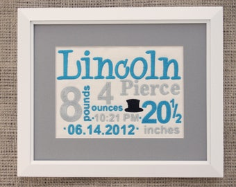 New Baby Boy Gift - Birth Stats Canvas - Embroidered Birth Announcement - Aqua Gray Nursery Art - Embroidered Canvas - Framed 8 X 10 Decor