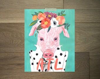 Watercolor cow pig print - 8 x 10 - black and white - atlanta- pink - green - flower crown - modern farm art