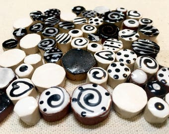 Black and White Ceramic Mosaic Tile Variety Pack Handcut Tiles