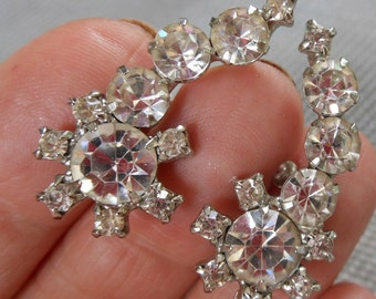 Coro signed screwback diamonte earrings - add some bling