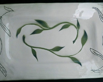 Serving Tray with original green leaf Stencil and incised vining leaf design.