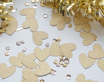 Gold Heart Glitter Confetti, Baby Shower, Gold Glitter Heart Confetti, Party Decorations, Party Decor, Wedding Decor, Birthday Party