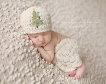 Baby Christmas Hat, Newborn Christmas Hat, Crochet Baby Hat, Baby Girl Hat, Baby Boy Hat, Baby Photo Prop, Crochet Newborn Hat, Infant Hat