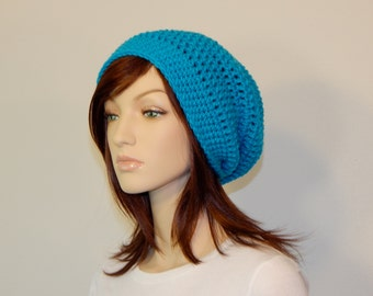 Aqua Blue Slouch Hat, Blue Slouchy Beanie, Womens Hat, Ladies Hat, Boho Chic Slouch Hat, Winter Hat, Baggy Beret Slouch, MarlowsGiftCottage