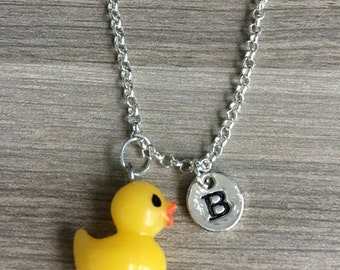KIDS SIZE - Yello Rubber duck initial necklace, duck jewelry, bath time jewelry, rubber ducky necklace, silver rubber duck necklace, bird