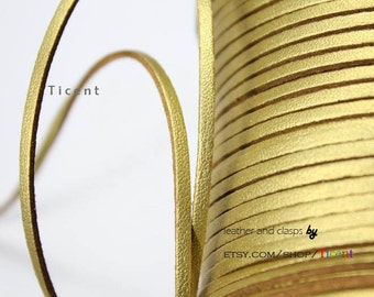10 Yards 3mm Patent Faux Suede Leather, Metallic Gold Coated Suede Leather CS3M159