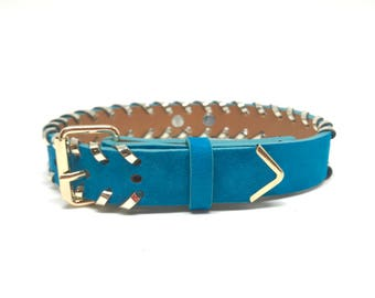 Whipstitch Collar in Aqua Blue Goat Suede
