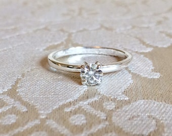 RESERVED~ Charles & Colvard .33 Ct. (4.50mm) Forever Classic Moissanite Sterling Silver Engagement Ring Size 6.25