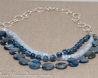 Blue Kyanite & Blue Lace Agate Hammered Sterling Silver Chain Necklace