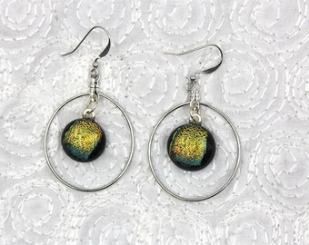 Inspiration Earrings, dangle earrings, dichroic glass earrings, jewelry, yellow, silver hoop earrings