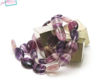"strand 39 cm 25 beads of fluorite ""puck oval 16 x 12 x 6 mm"", natural stone"