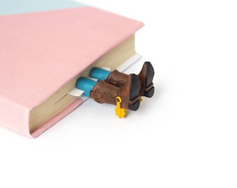 Cowboy bookmark. Handmade cowboy shoes unusual gift for booklover and fan.