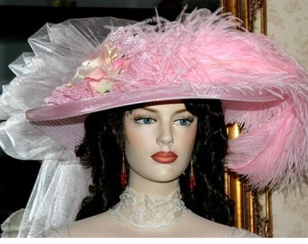 Victorian Hat, Pink Kentucky Derby Hat, Royal Ascot Hat, Tea Party Hat, Women's Hat - Pink Rose Crystal Fairy