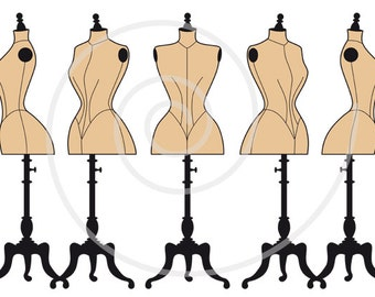 Vintage mannequin silhouettes, dress form, tailor's dummy, fashion, digital clip art set for shops, commercial use, EPS, SVG files, download