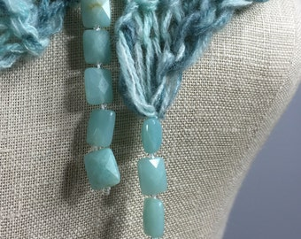 Wearable Fiber Art, Mindful Wrap-Peaceful Ammonite on a Aqua Brushed Merino, Cashmere and Silk Empowerment Stole . . . Tranquility Wrap