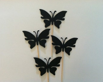12 black butterfly toppers, butterfly toppers, butterfly cupcake toppers