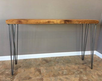 Reclaimed Wood Console Table w/ Hairpin Legs, Handmade, Salvaged Barn Wood Planks, FREE SHIPPING !!!