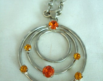 Three Ring-Pendant Necklace - Metal with 6 Orange Rhinestones / Crystals - Chain- Vintage - Early 90's Jewelry -  Summer Necklace