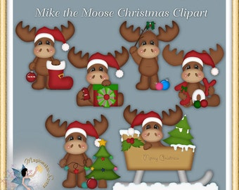 Christmas Clipart, Moose Holiday