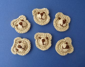 Bear head - crochet applique