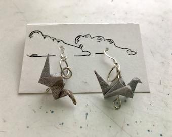 Silver Paper Crane Earrings
