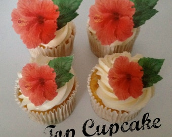 Edible Hibiscus  Flower Cupcake Toppers