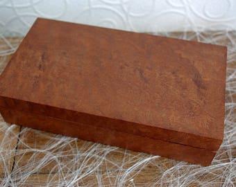 Dappled maobi Burl veneer marquetry jewelry box