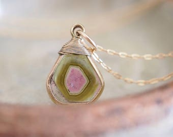Exquisite Green and Pink Watermelon Tourmaline Slice Pendant Necklace | 14k yellow gold fill | One of a kind