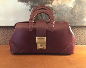 Vintage 1960s McCoy Oxblood Leather Doctors Bag 60s Handbag 25212