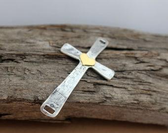 Sideways Cross Link Gold Filled Heart Sterling Silver