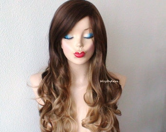 Ombre wig. Brown/Toffee/Dirty Blonde ombre wig. Long curly hair wig. Durable heat friendly wig for everyday wear or Cosplay