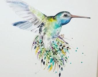 Leafy Hummingbird Print