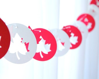 """6 Foot - 3"""" Rounds Canada Maple Leaf Garland - available in your choice of colors - Party Banner Garland"""