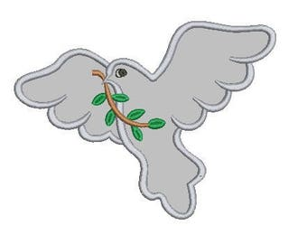 peace dove applique embroidery design